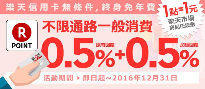 原有0.5% + 加碼0.5% 樂天超級點數 回饋無上限!