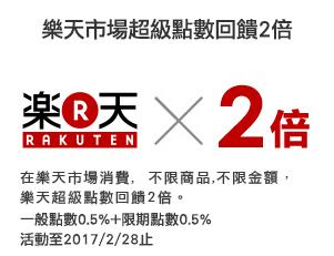 樂天市場超級點數回饋2倍 在樂天市場消費,不限商品、不限金額,樂天超級點數回饋2倍。