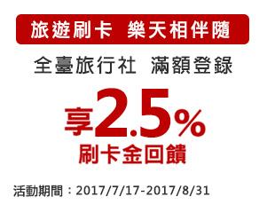 【旅遊刷卡,樂天伴相隨】登錄滿額享2.5%刷卡金