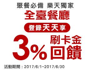 【聚餐必備 樂天獨家】 刷樂天卡 登錄天天享3%刷卡金