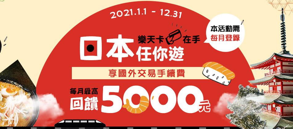 【樂天卡在手  日本任你遊】登錄享國外交易手續費回饋