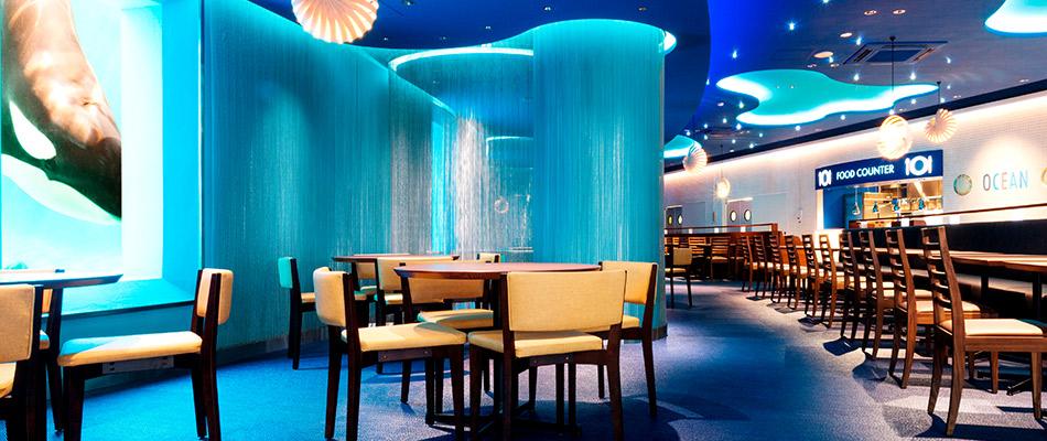 各式餐廳供您選擇<br><small>海洋餐廳 日本 唯一可看到殺人鯨的餐廳</small>