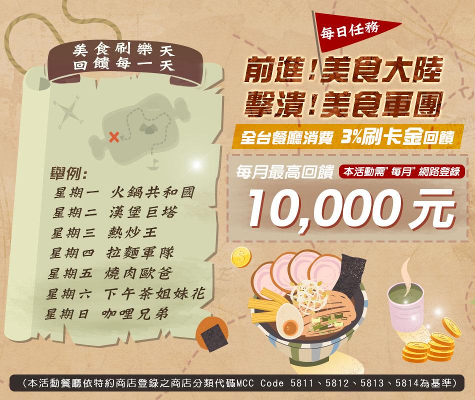 【美食冒險王】探索美食大陸  天天3%回饋不停歇