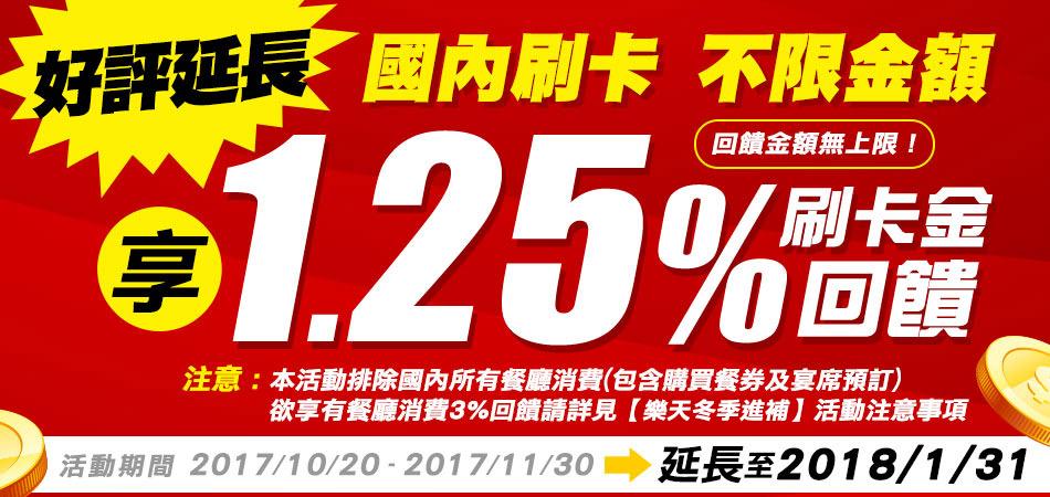 《好評延長》【樂天全額刷卡金回饋】不限金額享 1.25%