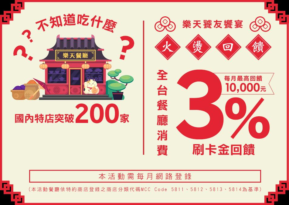 【樂天饕友饗宴】全台餐廳3%回饋火燙延燒