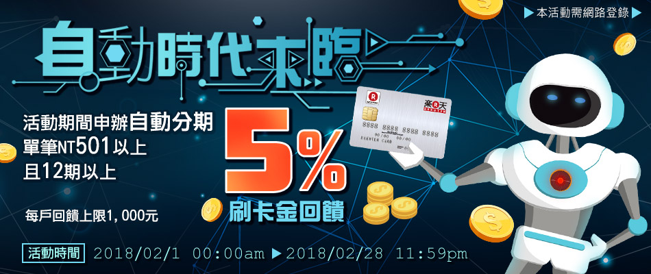 【自動時代來臨】卡片自動分期12期以上享5%高額回饋