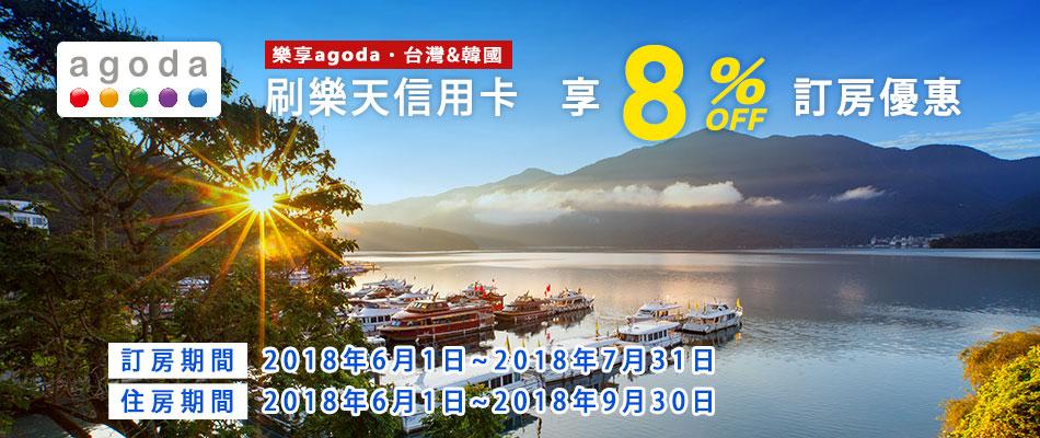 Agoda訂台灣和韓國飯店 樂天卡友尊享8%訂房折價優惠