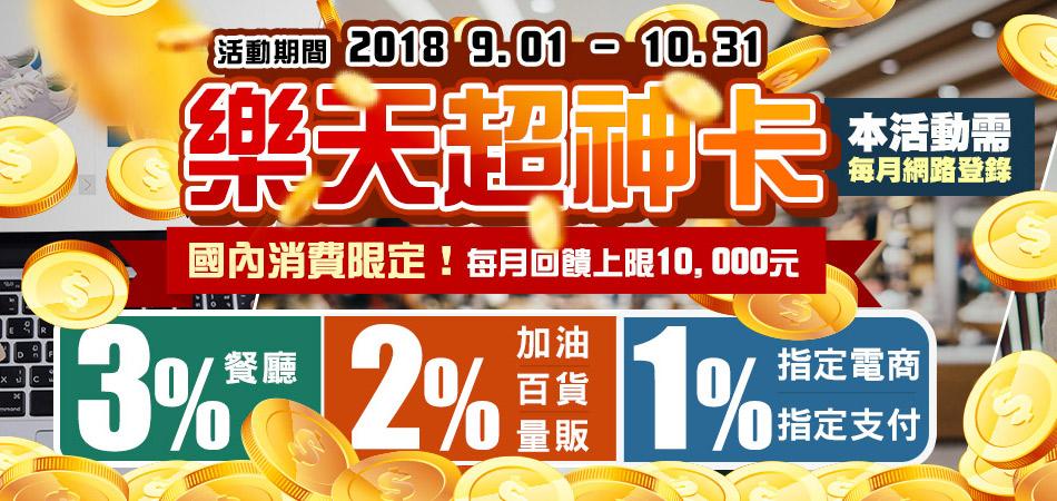 【樂天超神卡】國內指定消費 享最高3%刷卡金回饋