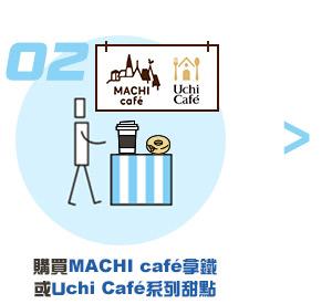 購買MACHI café拿鐵或Uchi Café系列甜點