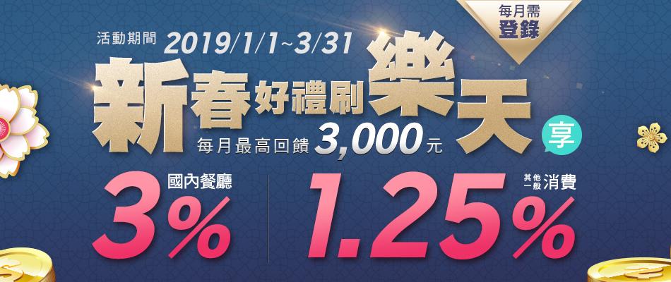 【新春好禮】國內餐廳3%回饋,其他一般消費享1.25%回饋