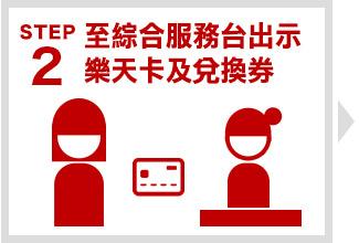 Step 2 至綜合服務台出示樂天卡及兌換券