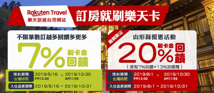 樂天旅遊台灣網站訂房享7%刷卡金回饋!