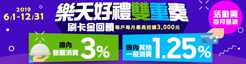 【樂天好禮雙重奏】國內刷卡消費 登錄享1.25%全額刷卡金回饋